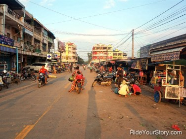 Stung Treng Market, with my hotel on the far left.