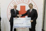 Dr. Thomas Steg (left), Volkswagen Group General Representative for External Relations and Government Relations, hands a concession over to Francesco Rocca, President of a Italian Red Cross (Croce Rossa Italiana).