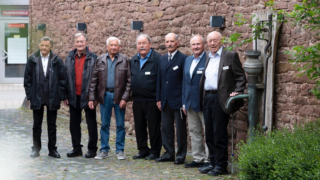 Hans Mezger, Gerhard Küchle, Roland Bemsel, Klaus Ziegler, Günter Steckkönig, Hermann Burst, Eugen Kolb, l-r, 2019, Porsche AG