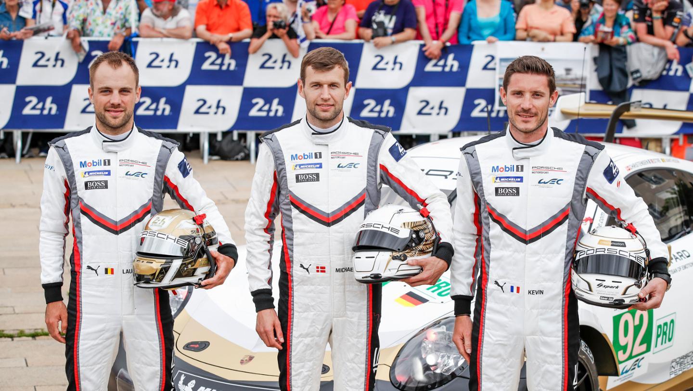 Laurens Vanthoor (B), Michael Christensen (DK), Kevin Estre (F), l-r, 911 RSR (92), scrutineering, FIA WEC, Le Mans, 2019, Porsche AG