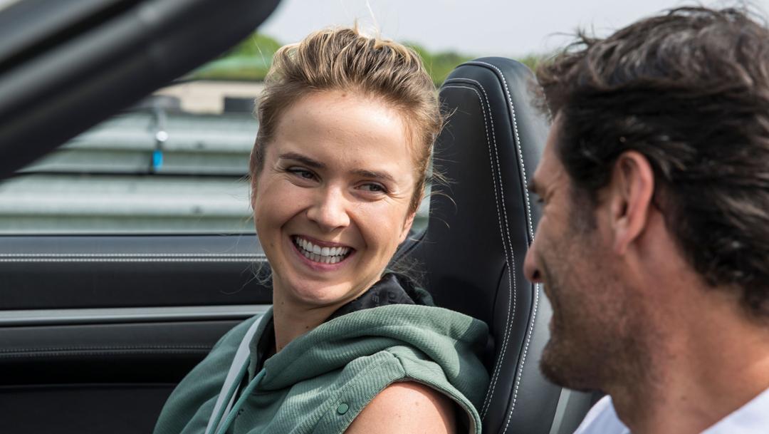 Elina Svitolina, veteran tennis player, Mark Webber, Porsche Brand Ambassador, 911 Carrera 4S Cabriolet, Weissach, 2019, Porsche AG