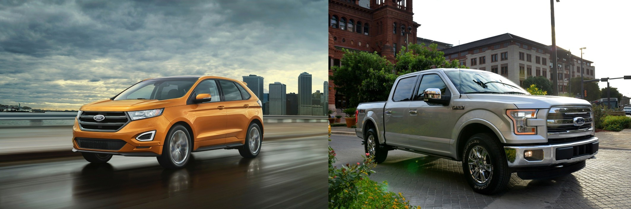 2015 Edge and 2015 F150 Pair side-by-side, a ideal multiple of beauty and brauns.