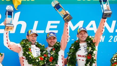 Porsche celebrates double feat during Le Mans