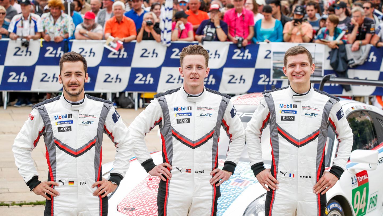 Sven Müller (D), Dennis Olsen (N), Mathieu Jaminet (F), l-r, 911 RSR (94), scrutineering, FIA WEC, Le Mans, 2019, Porsche AG