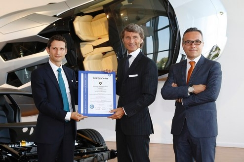 The CEO of TÜV Italia, Ettore Favia, a President and CEO of Automobili Lamborghini, Stephan Winkelmann and a Head of ACRC Luciano De Oto