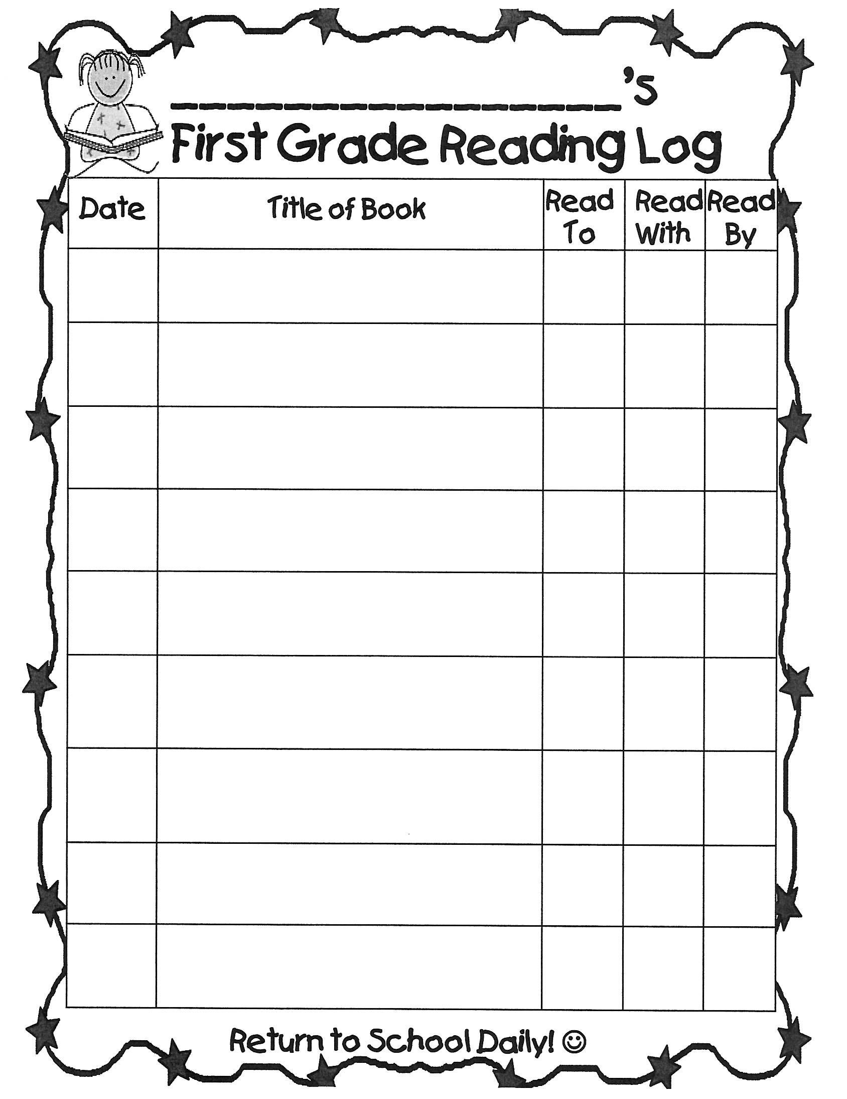 Farelli Annette Grade 1 Teacher Reading Log Form