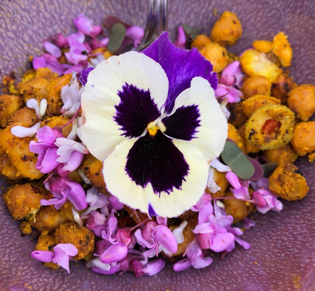 Wild edible flowers and garbanzos