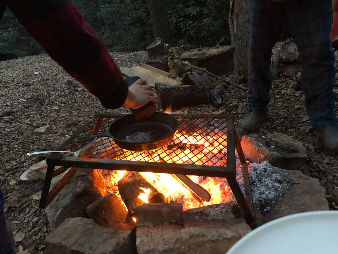 Cooking over the campfire