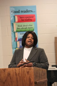 Aresia Rhodes, a business analyst with the Mississippi technology company Bomgar, located in Ridgeland, talked about how computer programming classes prepared her for success at technology companies. She urged students to make the most of the opportunities given them such as coding instruction at Highland Elementary led by Mrs. James.