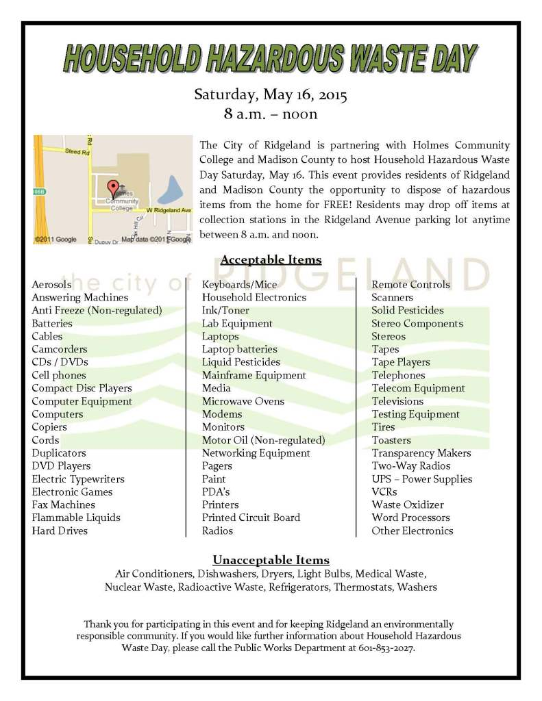 Household Hazardous Waste Day Flyer 2015_
