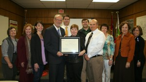 Keep Ridgeland Beautiful joins a national network of Keep America Beautiful affiliates in a recent affiliation ceremony. Pictured are members of Keep Ridgeland Beautiful (KRB) with city officials and a representative from Keep America Beautiful (from left) Pat Busby, KRB member; Lea Anne Stacy, KRB member; Jan Richardson, KRB member; Gene McGee, Mayor; Alan Hart, director of community development; Sue Smith, Keep America Beautiful national director of education and training;  Drew Smith, code enforcement officer and KRB advisor; Mike McCollum, director of public works and KRB acting executive director; Claire Jackson, KRB member; and Phyllis Parker, KRB member.