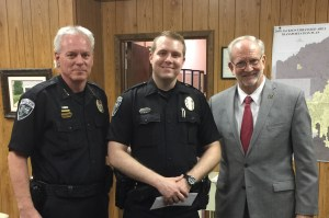 Officer Jason Haven was recognized as Officer of the Month for February at a Mayor and Board of Aldermen Meeting in March. His actions are commendable and indicative of a professional and motivated officer. L to R: Police Chief John Neal, Officer Jason Haven, and Mayor Gene McGee.