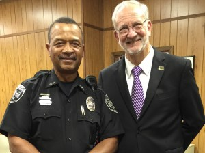 Ridgeland Police Officer James Myers was publicly recognized at the May 5, 2015 Mayor and Board of Aldermen meeting. Officer Myers was honored for being selected Officer of the Month for March, 2015 for actions commendable and indicative of a professional and motivated officer.