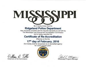 Re-Accreditation Certificate 2016