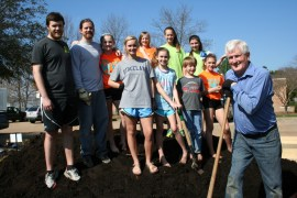 Youth leaders and members of First Ridgeland Baptist Church worked in the Ridgeland Community Garden during spring break. Wes Tankersley, student minister, is a member of Ridgeland's Healthy Hometown Committee. Jerry Williams also a member of Ridgeland's Healthy Hometown Committee member is the project director of the Ridgeland Community Garden. Williams secured a donation of $500 for the garden from Lowe's Ridgeland. Produce from the garden is distributed to the needy through First Ridgeland Baptist Church. Pictured are volunteers from left (back) Justin Medders, Wes Tankersley, Camille Kelly, Bailey McClellan, Hope Ellison, and AnnaKris Byrd. From left (front) Gabby Vinson, Carly Chennault, Robert McClellan, Bailey Williamson, and Jerry Williams.