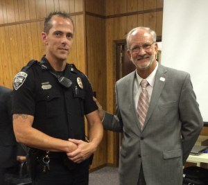 Ridgeland Police Officer Ben Johnson was publicly recognized at the Mayor and Board of Aldermen Meeting on Sept. 2, 2014 for being named Officer of the Month for July. His investigative work was commendable of a dedicated police officer.