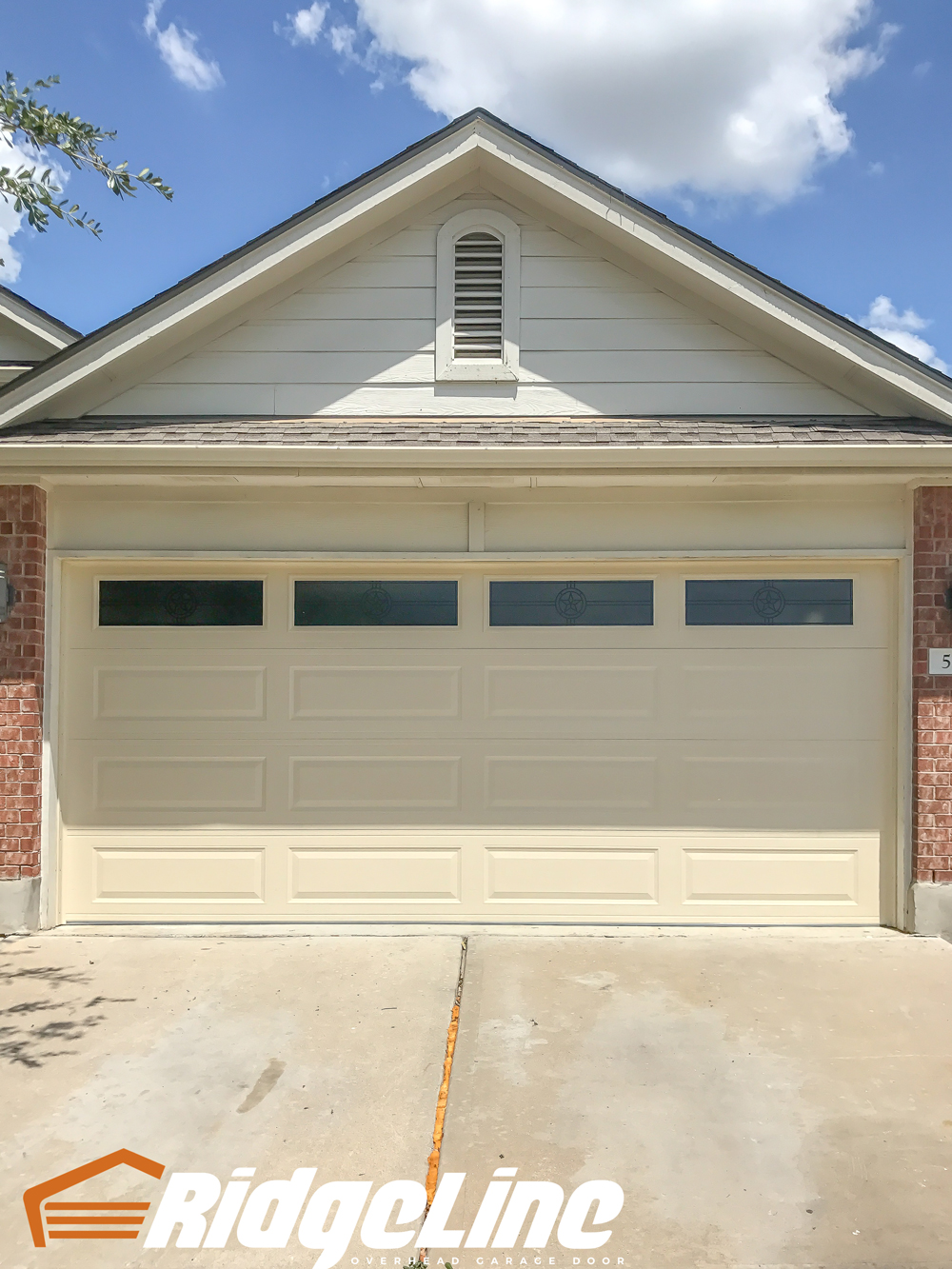 16x7 Amarr Stratford 3000 Long Panel Almond Americana Glass  RidgeLine  Overhead Garage Door