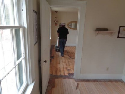 March 31 – floor sanding view from bedroom into parlor