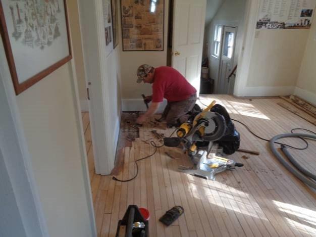 April 30 – Taylor replacing damaged floor boards
