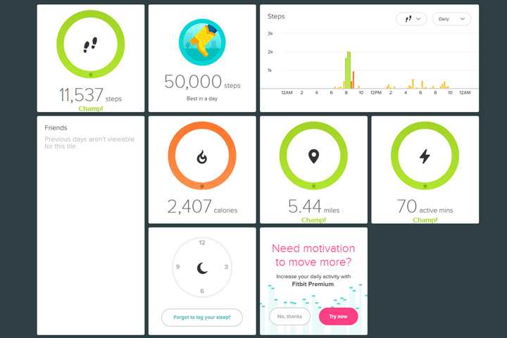 FitBit Charge HR dashboard
