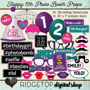 Ridgetop Digital Shop | Photo Booth Props | 12th Birthday| Girl