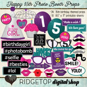 Ridgetop Digital Shop | Photo Booth Props |15th Birthday | Girl | Pink | Purple | Teal
