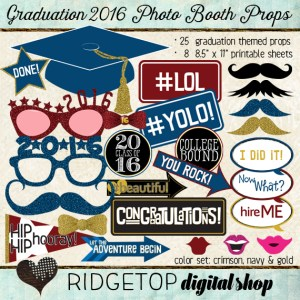 Ridgetop Digital Shop | Photo Booth Props | Class of 2016 | Graduation | Crimson | Navy | Gold
