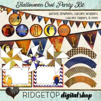 Ridgetop Digital Shop | Party Kit | Halloween | Owl | Garland | Pinwheels | Cupcake Wrappers