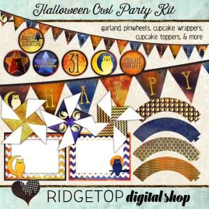 Ridgetop Digital Shop | Party Kit | Halloween | Owl | Garland | Pinwheels | Cupcake