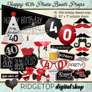 Ridgetop Digital Shop | Photo Booth Props | 30th Birthday | Girl | Tiara | Red | Black
