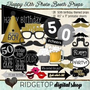 Ridgetop Digital Shop | Photo Booth Props | 50th Birthday | Boy | Man | Gold | Silver | Black