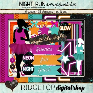 Ridgetop Digital Shop | Scrapbook Kit | Night Run | Jog | Walk |5k | Neon | Glow |Electric
