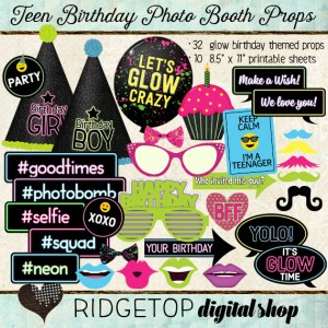 Ridgetop Digital Shop | Photo Booth Props | Teen Birthday | Glow | Blacklight| Neon