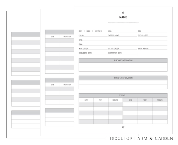 Ridgetop Farm and Garden   Homestead Record Keeping   Goat Records   Free Printable