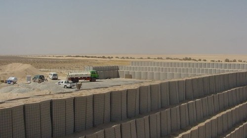 Bastions are used to build perimeter walls on a military compound.