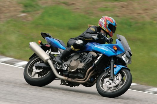 "My wife, Caroline in ""the bowl"" at NH Motor Speedway on her Kawasaki z750s"