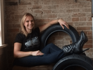 Leah with tire
