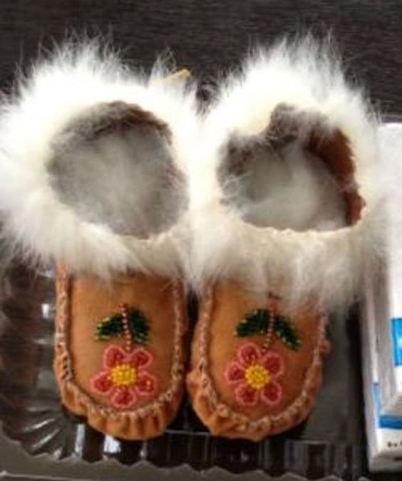 This photo was sent to me by Karin Nilsson Arcand. They are the last moccs. made by her then 95 year old mother-in-law Bella Arcand, mother to Fred Arcand. These moccs, as anyone who has ever knit, sewn, crocheted, done any kind of handwork for a loved one knows, are treasures. Each stitch is an act of beautiful love.
