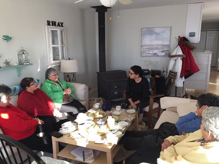 """Had a lovely afternoon listening to stories from the St. Laurent """"Dictionary Ladies"""" (More about that later. From left, Lorraine, Andrea"""