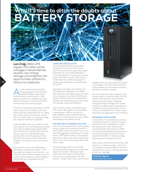 Article from DCM Autumn magazine featuring Riello UPS & battery storage