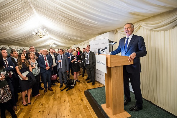 Former Prime Minister Tony Blair giving speech behind a lectern at the annual gala ceremony to launch The Parliamentary Review