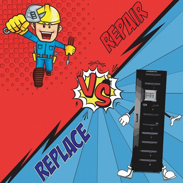 Cartoon style image with a male electrical engineer and a Riello UPS Multi Power along with the caption repair vs replace