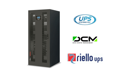 logos for Riello UPS, UPS Systems plc & data centre management (DCM) magazine next to a Multi Sentry MST 200kVA uninterruptible power supply
