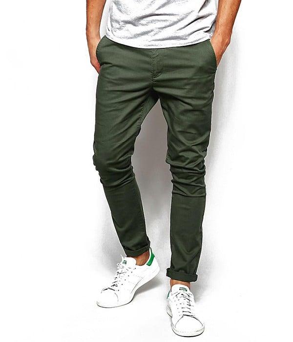 pantalon chino homme couleur kaki fonce coupe skinny asos