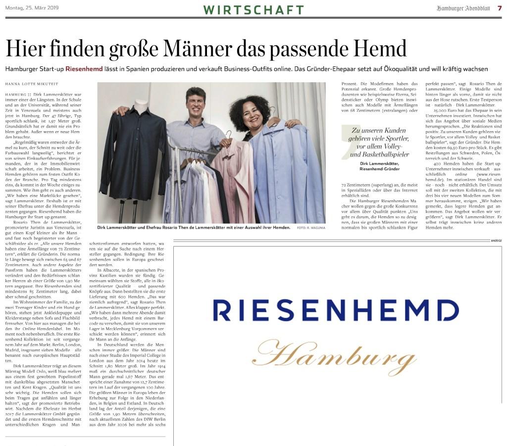 Hamburger Abendblatt - Artikel RIESENHEMD Hamburg