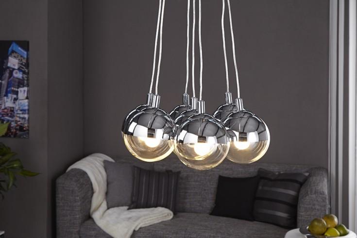 Design Hngelampe GALANTE mit 7 Glaskugeln chrom