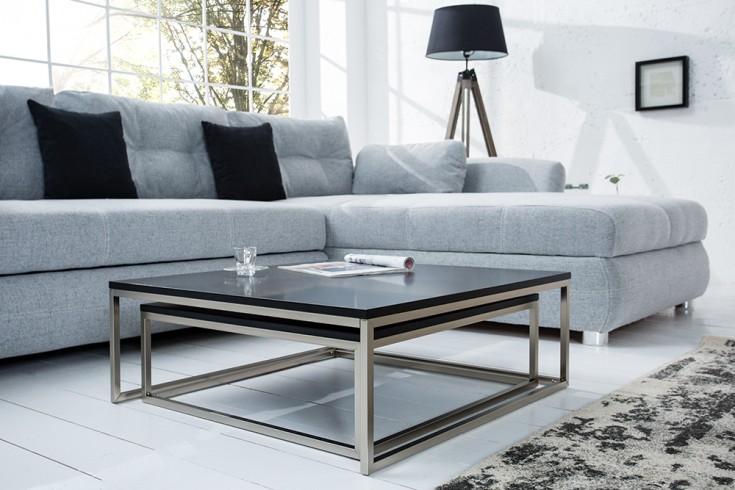 Design Couchtisch 2er Set BIG FUSION matt schwarz Stahl
