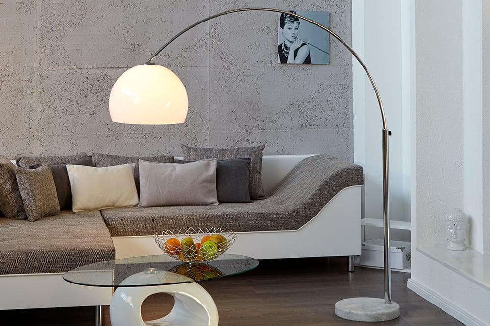 Design Bogenlampe LOUNGE DEAL wei Marmorfu 175  205cm
