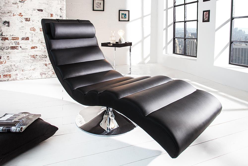 Extravagante Design Liege RELAXO schwarz chrom Relaxliege  RiessAmbientede