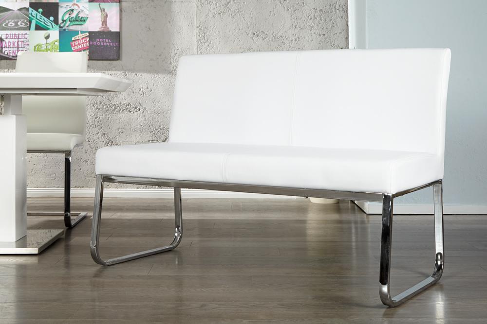 Elegante Design Sitzbank HAMPTON mit Rckenlehne weiss 120